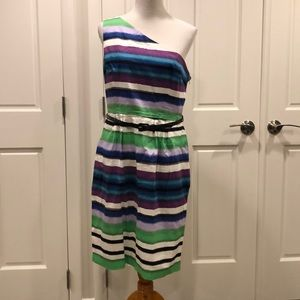 One shoulder stripes dress London Times 14 VGUC